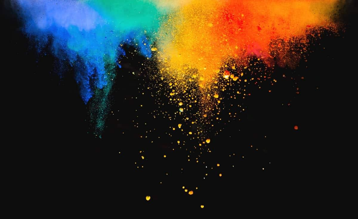 an artistic photo of colored powders
